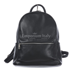 Borsa zaino donna in vera pelle MONTE AMARO, colore NERO, DELIA REI, MADE IN ITALY