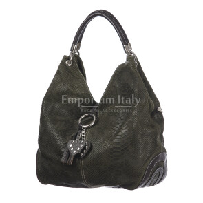 Borsa donna in vera pelle DELIA REI mod. BONELLA big colore VERDE Made in Italy