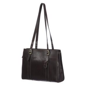 MARINA : borsa donna a spalla in cuoio, colore : TESTA MORO, Made in Italy