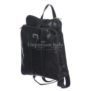 Borsa zaino donna in vera pelle MONTE COLOMBINE, colore NERO, RINO DOLFI, MADE IN ITALY