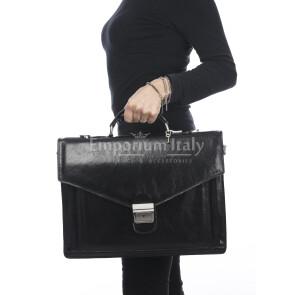 Borsa ufficio uomo/donna in vera pelle FERNANDO, NERO, RINO DOLFI, MADE IN ITALY