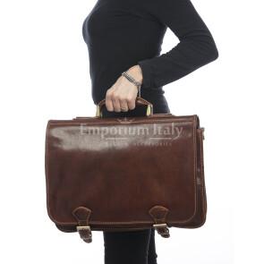 Cartella ufficio/lavoro uomo in vera pelle RINO DOLFI mod. GREGORY MAXI colore CUOIO Made in Italy.