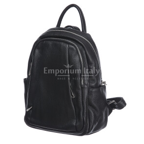Borsa zaino donna in vera pelle MONTE VELINO, colore NERO, MAESTRI, MADE IN ITALY