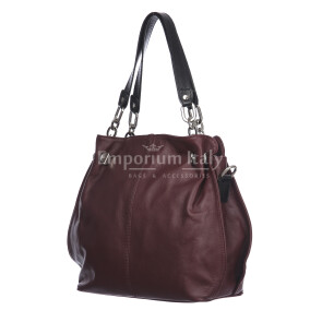 Borsa donna in vera pelle ADELINA, colore BORDEAUX,CHIARO SCURO, MADE IN ITALY