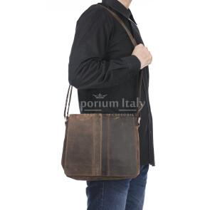 Borsa a tracolla da uomo in vera pelle nabuk NOAH, colore MARRONE, MAESTRI, MADE IN ITALY