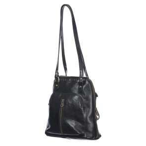 Borsa zaino donna in vera pelle MONTE CRISTALLO, colore NERO, MAESTRI, MADE IN ITALY