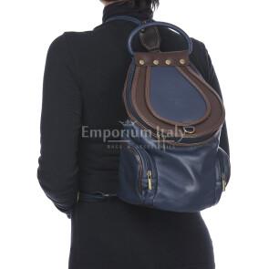 Borsa zaino donna in vera pelle MONTE HALLA MAXI colore BLUE/MARRONE, EMPORIO TITANO, MADE IN ITALY