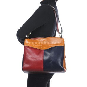Borsa donna in vera pelle BENEDETTA, MULTICOLORE, SATINI, MADE IN ITALY