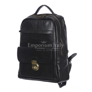 Borsa zaino donna in vera pelle MONTE VETTORE, colore NERO, DELIA REI, MADE IN ITALY