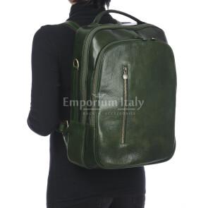 Monte KILIMANGIARO : borsa-zaino uomo / donna in cuoio, colore: VERDE, Made in Italy