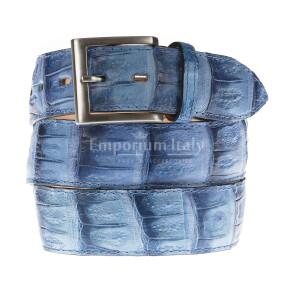 Cintura uomo in vera pelle di coccodrillo FORLI', colore AZZURRO, SANTINI, MADE IN ITALY