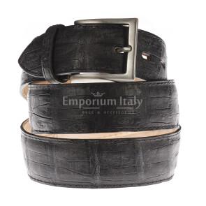 Cintura uomo in vera pelle di coccodrillo FORLI', colore TESTA MORO, SANTINI, MADE IN ITALY