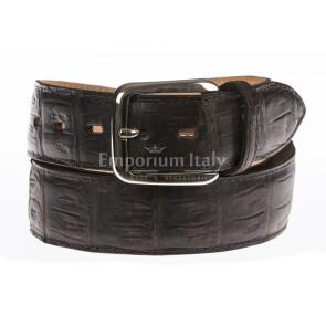 Cintura uomo in vera pelle di coccodrillo PRETORIA, certificato CITES colore TESTA DI MORO, SANTINI, MADE IN ITALY