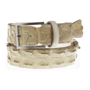 Cintura uomo in vera pelle di coccodrillo CATTOLICA, colore CHAMPAGNE, SANTINI, MADE IN ITALY