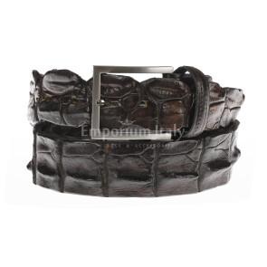 Cintura uomo in vera pelle di coccodrillo CATTOLICA, colore TESTA DI MORO, SANTINI, MADE IN ITALY
