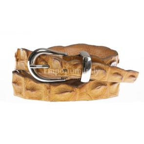 Cintura donna in vera pelle di coccodrillo DURBAN, certificato CITES, colore MIELE, SANTINI, MADE IN ITALY