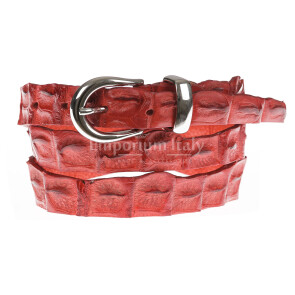 Cintura donna in vera pelle di coccodrillo DURBAN, certificato CITES, colore ROSSO, SANTINI, MADE IN ITALY