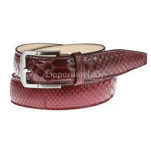 Cintura uomo in vera pelle di pitone certificata CITES CANCÙN, colore ROSSO, RINO DOLFI, MADE IN ITALY