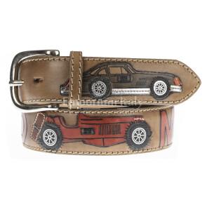 IMOLA: cintura uomo in cuoio, colore : MARRONE/ MULTICOLOR, tema fantasia Automobili, Made in Italy