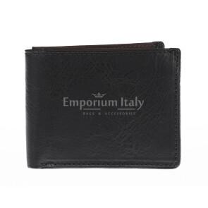 Portafoglio da uomo in vera pelle CAMBOGIA, colore NERO/TESTA MORO, EMPORIO TITANO, MADE IN ITALY