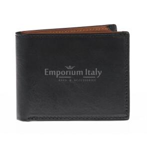 Portafoglio da uomo in vera pelle IRLANDA, colore NERO/MIELE, EMPORIO TITANO, MADE IN ITALY