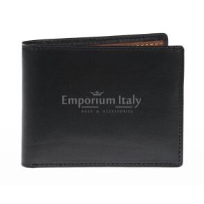Portafoglio da uomo in vera pelle INDIA, colore NERO/MIELE, EMPORIO TITANO, MADE IN ITALY