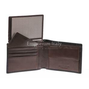 Portafoglio da uomo in vera pelle CILE, colore NERO/TESTA MORO, EMPORIO TITANO, MADE IN ITALY