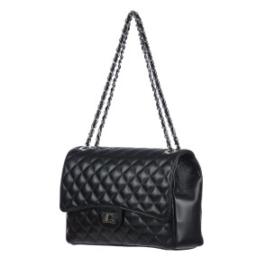 CHARLOTTE MEDIUM : borsa donna in pelle morbida, colore : NERO, Made in Italy