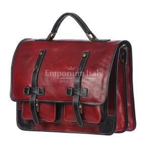 ERNESTO: cartella /borsa, zaino ufficio uomo, in cuoio, colore: ROSSO/NERO, Made in Italy