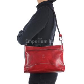 Borsa a spalla da donna in vera pelle GEMMA, colore ROSSO, RINO DOLFI, MADE IN ITALY