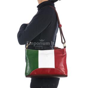 Borsa a spalla da donna in vera pelle GEMMA, colore VERDE/BIANCO/ROSSO, tricolore bandiera italiana, RINO DOLFI, MADE IN ITALY