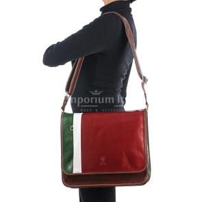 Tracolla uomo in vera pelle ILARIO, TRICOLORE BANDIERA ITALIANA, colore VERDE/BIANCO/ROSSO, MAESTRI, MADE IN ITALY