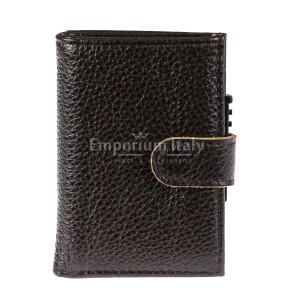 Portafoglio in vera pelle e porta carte di credito in alluminio da uomo OMAN, con BLOCCO RFID, colore TESTA MORO, EMPORIO TITANO