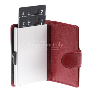 Portafoglio in vera pelle e porta carte di credito in alluminio da uomo EL SALVADOR, con BLOCCO RFID, colore RED, EMPORIO TITANO