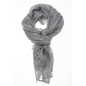 Foulard primaverile da donna ANANAS, design a quadretti, colore GRIGIO, EMPORIUM ITALY