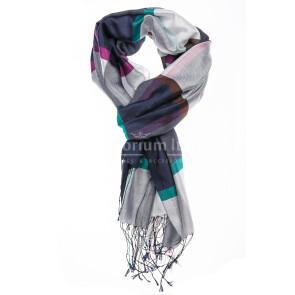 Foulard primaverile da donna MELA, design a quadretti, colore BLU/BIANCO/VIOLA, EMPORIUM ITALY