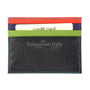 Porta tessere - carte di credito uomo / donna in vera pelle tradizionale SANTINI mod BELGIO, MULTICOLORE, Made in Italy.