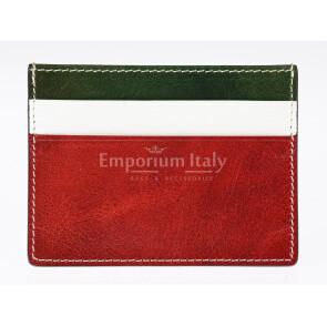 Porta tessere - carte di credito uomo / donna in vera pelle tradizionale SANTINI mod BELGIO, MULTICOLORE/VERDE/BIANCO/ROSSO, tricolore della bandiera italiana, Made in Italy.