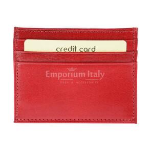 Porta tessere - carte di credito uomo / donna in vera pelle tradizionale SANTINI mod BELGIO, colore ROSSO, Made in Italy