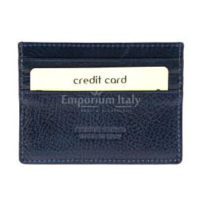 Porta tessere - carte di credito uomo / donna in vera pelle tradizionale SANTINI mod BELGIO, colore BLU, Made in Italy.