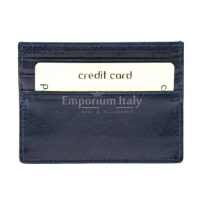Porta tessere - carte di credito uomo / donna in vera pelle tradizionale SANTINI mod BELGIO, colore BLU SCURO, Made in Italy.