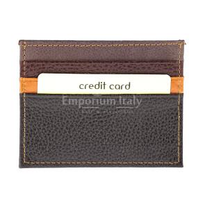 Porta tessere - carte di credito uomo / donna in vera pelle tradizionale SANTINI mod BELGIO, colore MULTICOLOR/MARRONE/ARANCIONE/NERO, Made in Italy