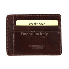 Portatessere - Carte di Credito da uomo in vera pelle HONG KONG, colore TESTA MORO, EMPORIO TITANO
