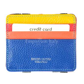 Porta Tessere - Carte di Credito con porta monete unisex in vera pelle BELGRADO, MULTICOLORE/BLU/ARANCIONE/GIALLO, EMPORIO TITANO