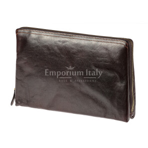 Pochette uomo da polso in vera pelle NATHAN, colore TESTA MORO, RINO DOLFI, MADE IN ITALY