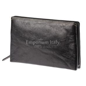 Pochette uomo da polso in vera pelle NATHAN, colore NERO, RINO DOLFI, MADE IN ITALY