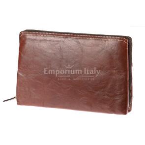 Pochette uomo da polso in vera pelle NATHAN, colore MIELE, RINO DOLFI, MADE IN ITALY