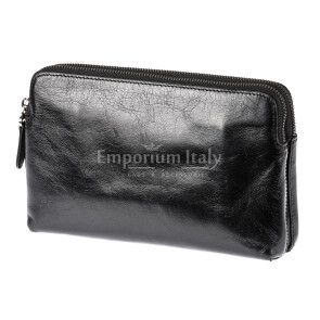 Pochette uomo da polso in vera pelle JAMES, colore NERO, RINO DOLFI, MADE IN ITALY