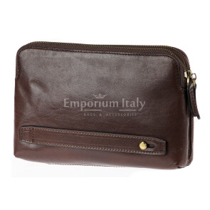 Pochette uomo da polso in vera pelle JAMES, colore TESTA DI MORO, RINO DOLFI, MADE IN ITALY