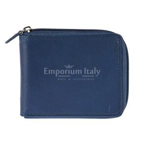 BENIN: portafoglio uomo a zip in cuoio, colore: BLU, Made in Italy